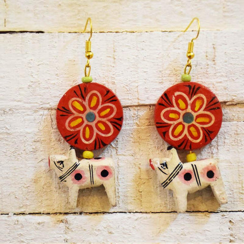 Lal Chakra Earrings Handcrafted by Women Artisans of Varanasi