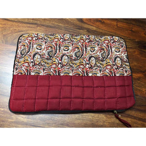 Block Printed Laptop Sleeve - Red Handcrafted by Underprivileged Women Artisans from Bhopal