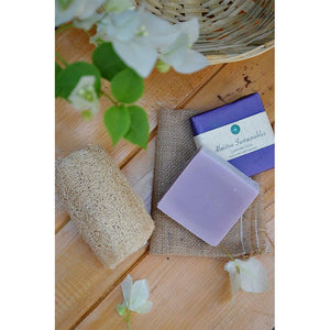 Handmade, Cold-Processed Lavender Soap and Coconut Fibre Loofah Combo