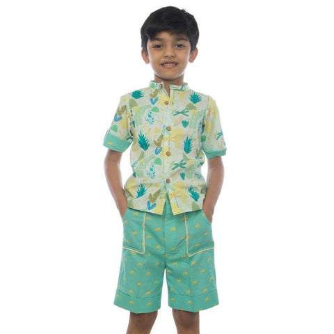 Leafy Forest Basic Boy's Shirt made of Organic Cotton