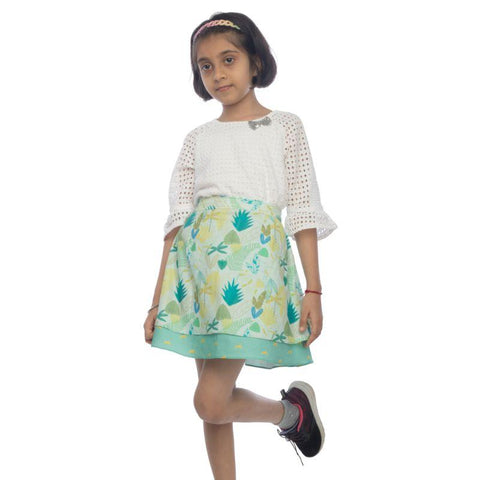Leafy Forest Layered Girl's Skirt made of Organic Cotton