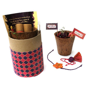 Eco-Friendly Luxury Rakhi Kit with 2 Plantable Seed Rakhis (1 Adults + 1 Kids), Plantable Seed Pen and Pencil