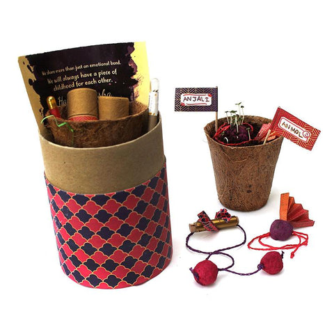 Eco-Friendly Luxury Rakhi Kit with Plantable Seed Adult Rakhi, Plantable Seed Lumba,  Plantable Seed Pen and Pencil