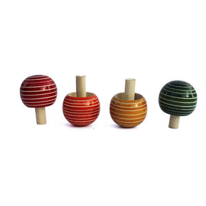 Magic Buguri - Wooden Spinning Tops Handcrafted by Traditional Artisans (Pack of 4)