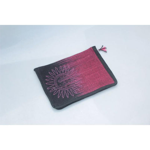 iPad Sleeve Made with Hibiscus Fibre - Maroon with Sun Motif