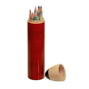 Hand-Crafted Wooden Pencil Shaped Box - Red