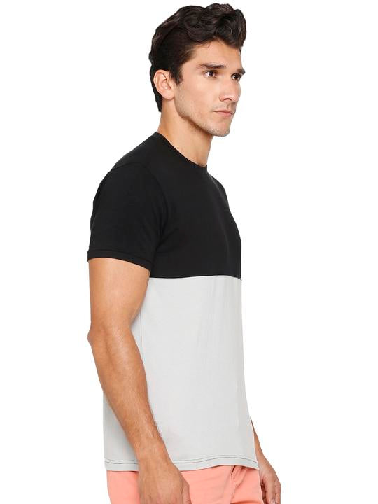Men's Colour Block Round Neck Bamboo Tee - Slate Black and Harbour Mist (AMCT002M)