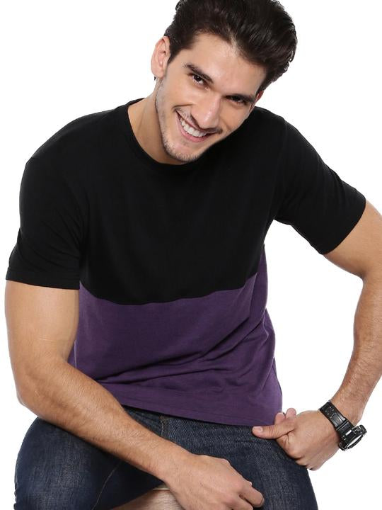 Men's Colour Block Round Neck Bamboo Tee - Slate Black and Midnight Plum