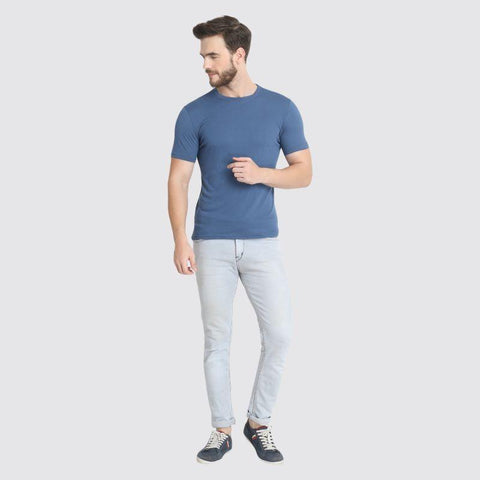 Men's Crew Neck Pique Bamboo T-Shirt - Blue
