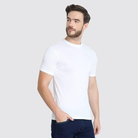 Men's Crew Neck Pique Bamboo T-Shirt - White