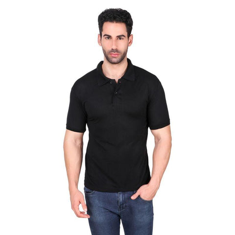 Men's Polo Neck Bamboo T-Shirt - Black