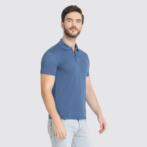 Men's Polo Neck Bamboo T-Shirt - Blue