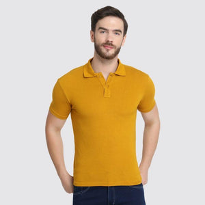 Men's Polo Neck Bamboo T-Shirt - Mustard