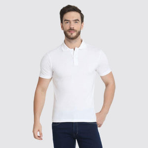 Men's Polo Neck Bamboo T-Shirt - White
