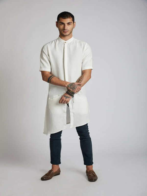 Men's Natural Hemp Kurta - White