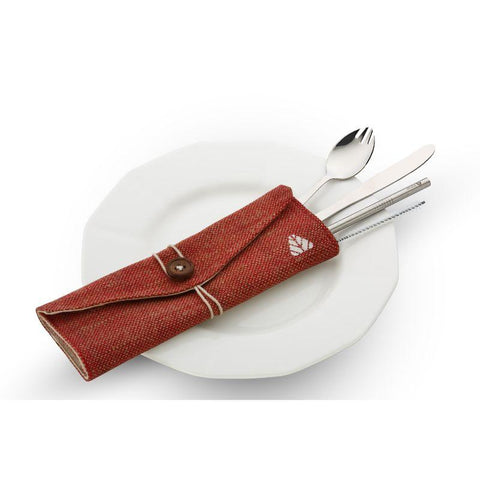 Reusable Steel Cutlery Set (Spork, Knife, Straw, Cleaner and Napkin)