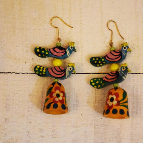 Mora Jhumki Earrings Handcrafted by Women Artisans of Varanasi