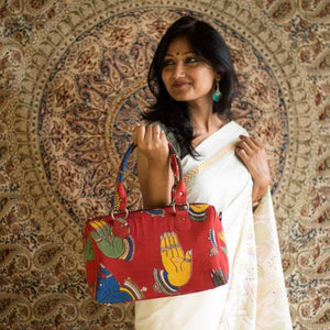 Mudra Red Kalamkari Duffle Bag