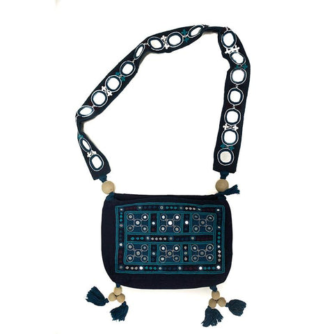 Mirror Embellished Sling Bag with Lambani Hand-Embroidery - Blue (NKB-5)