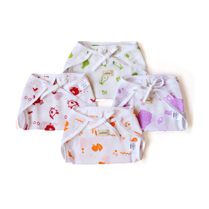 Organic Muslin Cotton Nappies (Set of 4: Duck, Pear, Hen & Bear)