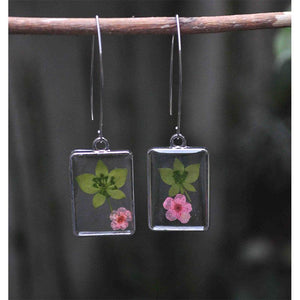 Rectangular Earrings  with Hand-Pressed Baby Pink Campion and Star Grass
