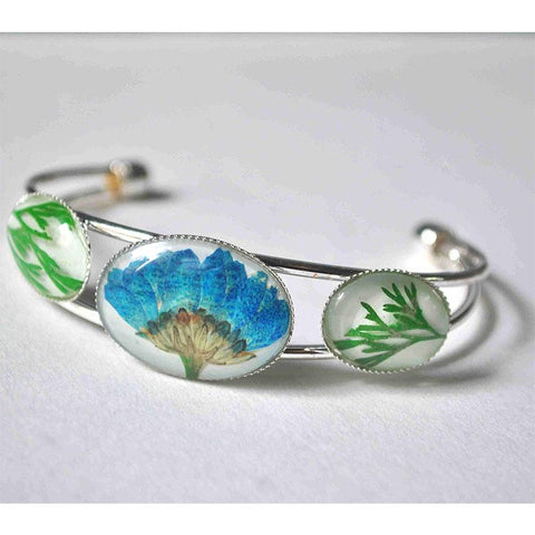Adjustable Cuff Bracelet with Hand-Pressed Blue Felicia Daisy and Wisteria