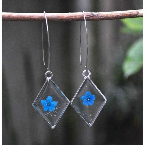 Diamond-Shaped Earrings with  Hand-Pressed Forget-Me-Nots