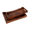 Hand-Carved Sheesham Wood Serving Trays - Set of 2 created by Traditional Artisans