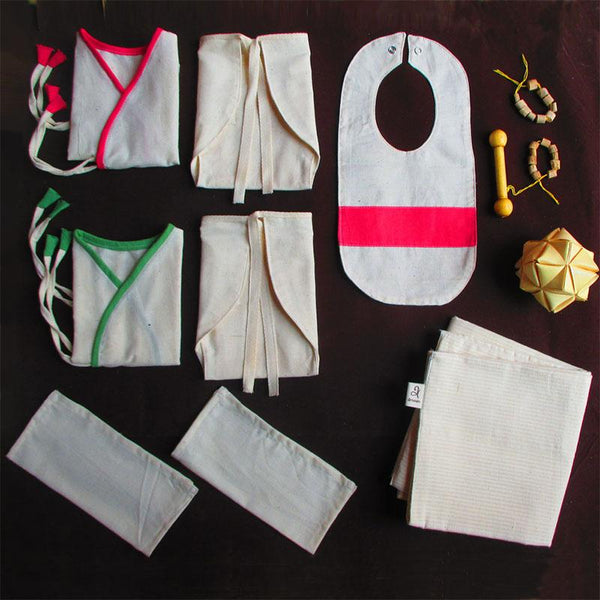 Baby Essentials (natural dyed handloom) and Natural Toy Set - Box 2 (0-6 months) created by artisans from Tamil Nadu