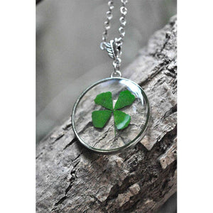 Round Pendant Necklace with Hand-Pressed Four Clover Leaf