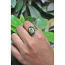 Emerald Filigree Cut Out Ring with Hand-Pressed Queen Anne's Lace Flower