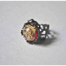 Maroon Filigree Cut-Out Ring with Hand-Pressed Queen Anne's Lace Flower