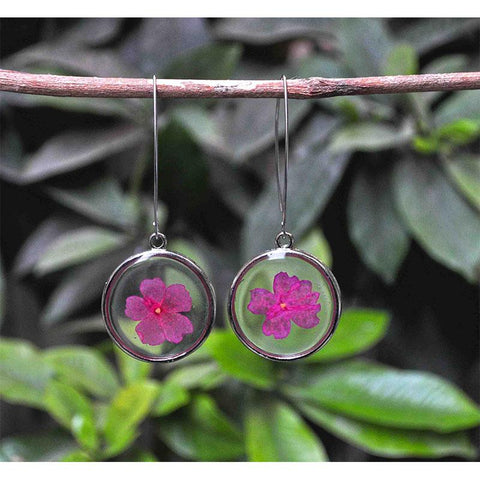 Round Earrings with Hand-Pressed Lemon Verbena Flowers