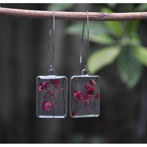 Rectangular Earrings  with Hand-Pressed Maroon Gypsophillie Flowers