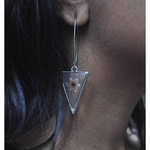Triangular Earrings with Hand-Pressed Pink Coral Vine Flowers