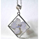 Square Pendant Necklace with Hand-Pressed Jasmine Flower
