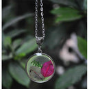 Round Pendant Necklace with Hand-Pressed Purple and Pink Bougainvillea