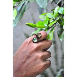Dual Tone, Adjustable Ring with Hand-Pressed Queen Anne's Lace Flower