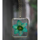 Rectangular Pendant Necklace with Hand-Pressed Himalayan Poppy
