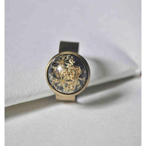 Black Banded, Adjustable Ring with  Hand-Pressed White Queen Anne's Lace Flower