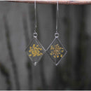Diamond-Shaped Earrings  with  Hand-Pressed Yellow Queen Anne's Lace Flower