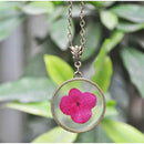 Round Pendant Necklace with Hand-Pressed Pink Hydrangea
