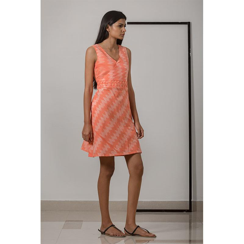 Nui Shibori Handwoven Cotton Bias Dress - Peach
