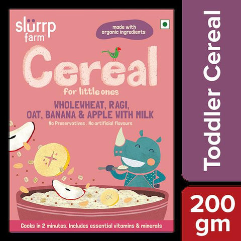 Nutritious Ready-to-Eat Baby Cereal with Wholewheat, Ragi, Oat, Banana and Apple and Milk, 200g