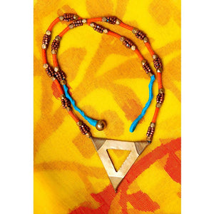 Handcrafted Dokra Triangle Necklace (Orange, Blue and Gold)