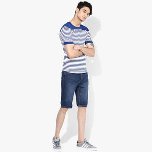 Organic Cotton Men's Blue Stripe Yoke T-Shirt