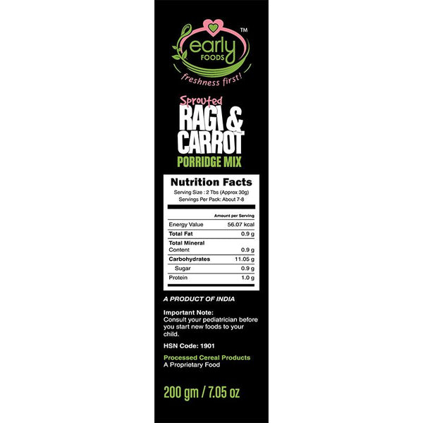 Sprouted Ragi and Carrot Porridge Mix, 200g