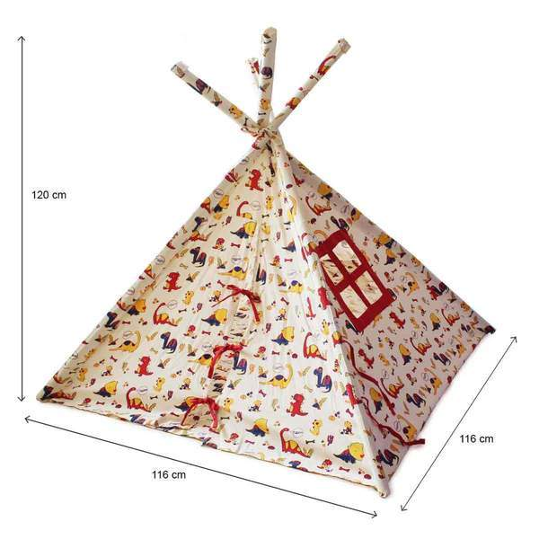 Organic Cotton Dinosaur Indoor/ Outdoor Teepee Tent for Kids