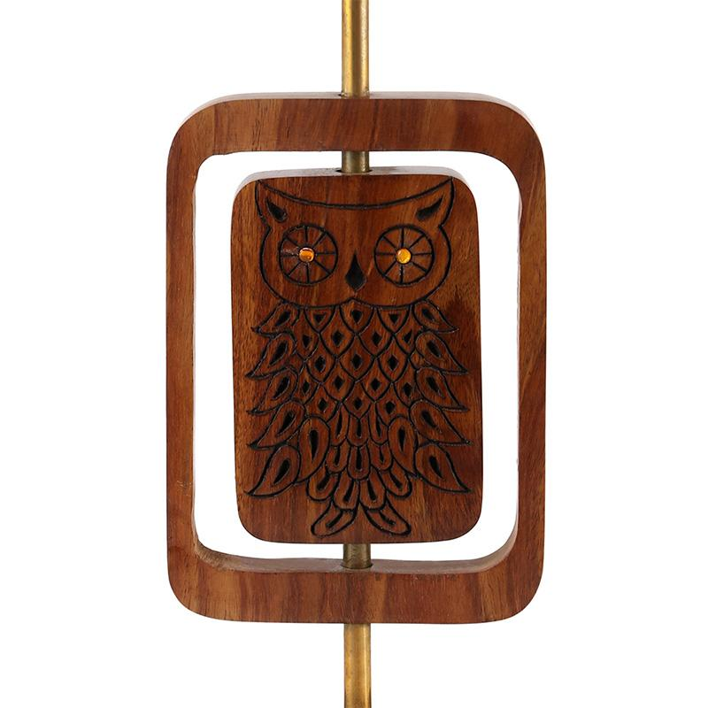 Hand-Carved Sheesham Table Lamp with Owl Engraving created by Traditional Artisans