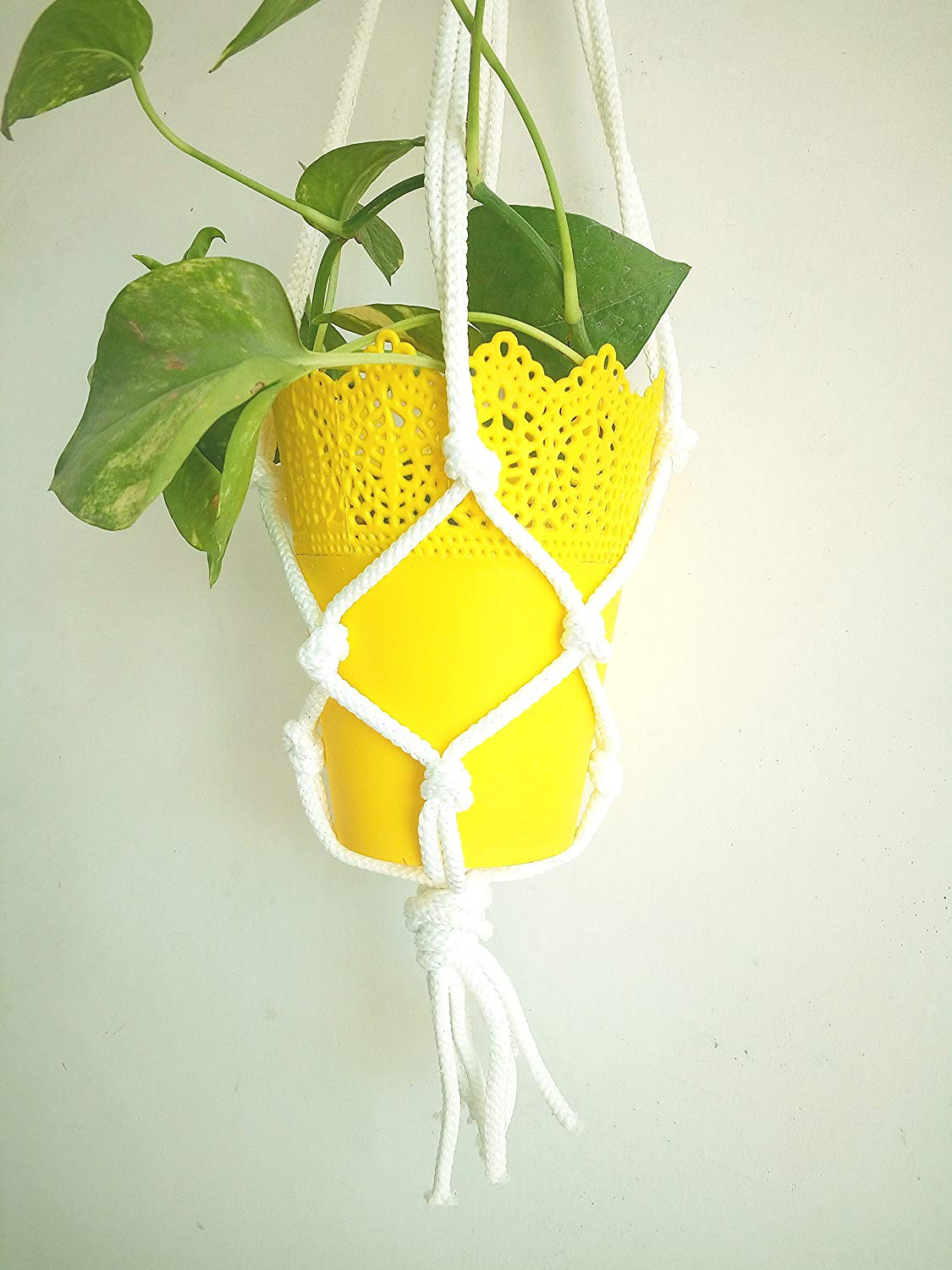 Traditional Macrame Indoor Plant Holder Handmade By Women Artisans